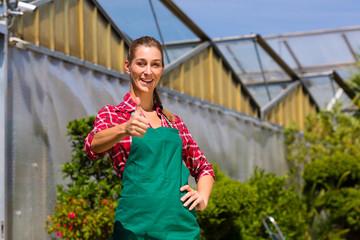 Female gardener in market garden or nursery
