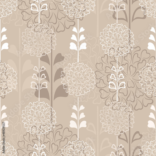 Flower decorative seamless background in sepia