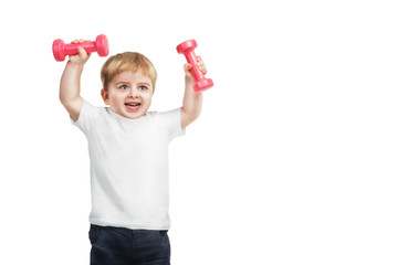 little 2 year boy with pink dumbbells