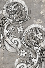 Tattoo art illustration, japanese dragons