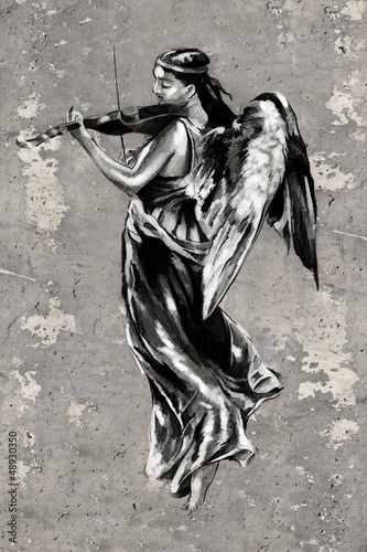 Tattoo art illustration, angel with violin