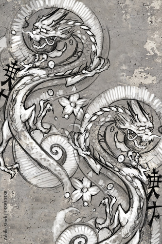 Tattoo art illustration, japanese dragons