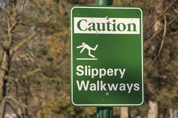 Slippery Walkways sign