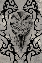 Tattoo art illustration, gargoyle