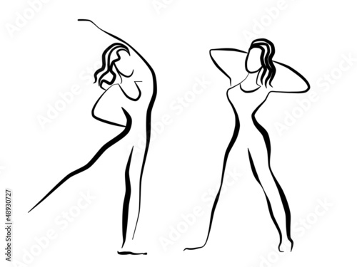 Conceptual drawing of girls silhouettes making exercises