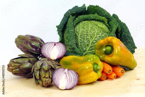 Peperoni,verza,carote,carciofi e cipolla rossa