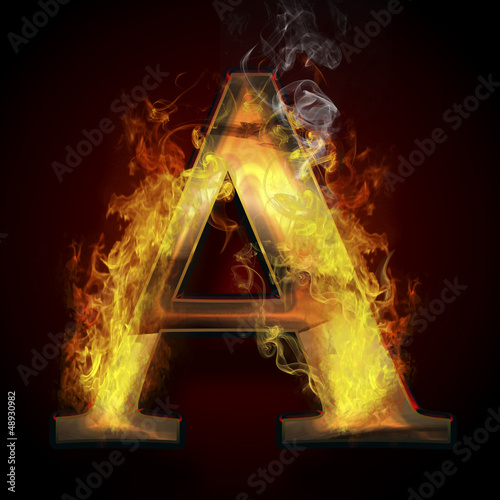 A, fire letter illustration