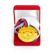 Golden medal in red gift box. isolated on white background