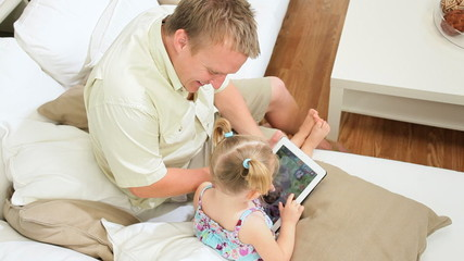 Caucasian Parents Children Wireless Tablet