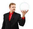 Man holding placeholder globe in his hand
