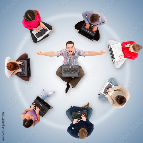 Social network members around one successful man
