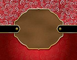 Paisley and Leather decorative badge background
