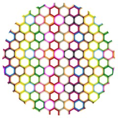Multi Colors of Hexagon on Circle Background