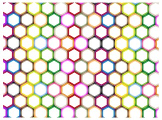 Multi Colors of Hexagon on White Background