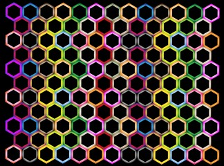 Multi Colors of Hexagon on Black Background