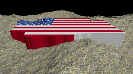 Washington map flag in abstract ocean of dollars animation