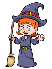 illustration of cartoon witch with broomstick