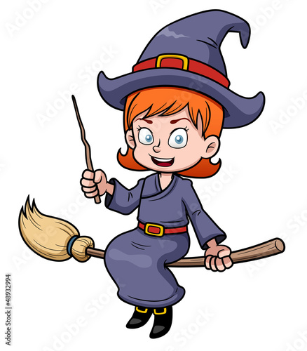 illustration of cartoon witch flying on a broomstick