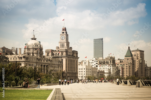 cityscape of the bund in shanghai