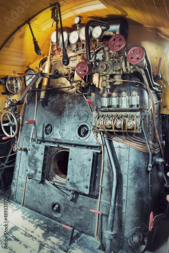 vintage engine room of a steam train