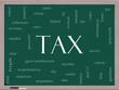 Tax Word Cloud Concept on a Blackboard