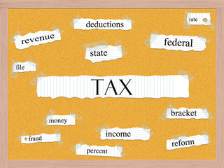 Tax Corkboard Word Concept