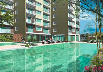 sample idea image of swimming pool and  condominium