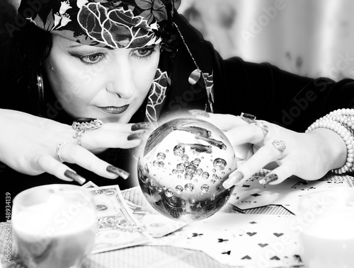 Black and white portrait of fortune-teller