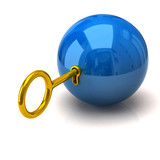 Illustration of safety. Blue sphere and golden key.