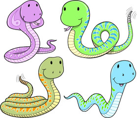 Cute Snake Vector Set