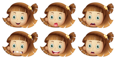 Different facial expressions of a girl