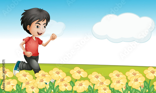 A boy running in the garden