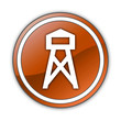 """Orange Glossy Button """"Lookout Tower"""""""