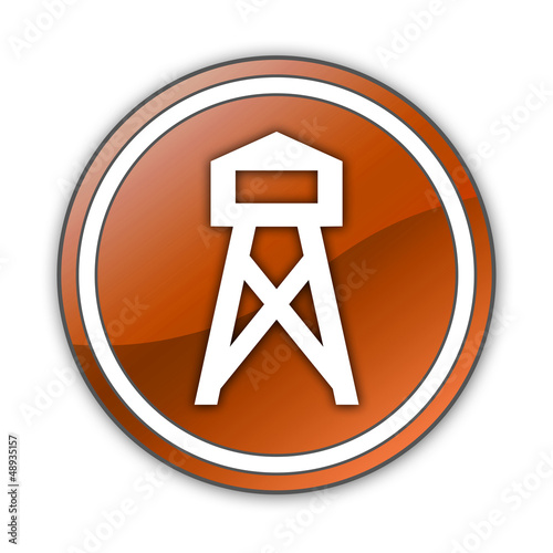 "Orange Glossy Button ""Lookout Tower"""