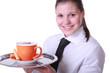 Kellnerin mit Cappuccinotasse