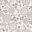 Cute seanless pattern with cartoon flowers and leaves