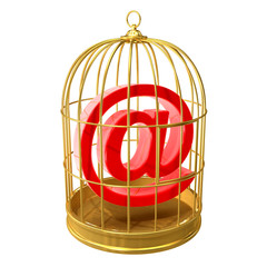 Birdcage with email symbol inside