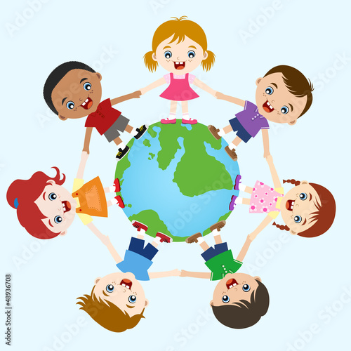 multicultural children hand in hand on earth