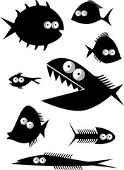 Set of funny fishes