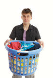 Teenager with laundry basket