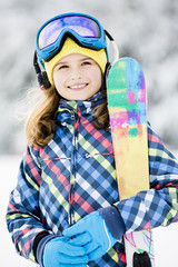 Skiing, winter, child - portrait of young skier