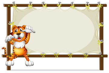 A tiger attempting to jump