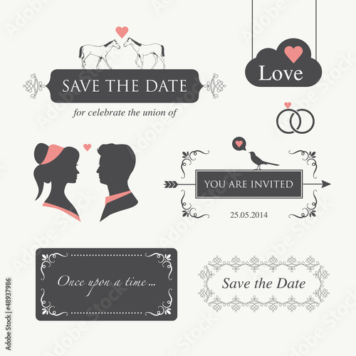 wedding invitation logo design element editable