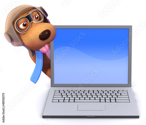 3d Pilot Dog behind a laptop