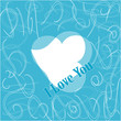 Simple i love you text badge on blue background