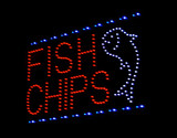 fish and chip light-emitting diode sign