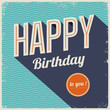 Vintage retro happy birthday card, typography font