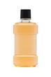 Bottle of mint orange mouthwash isolated on white background