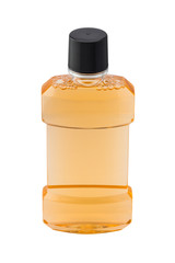 Bottle of mint orange mouthwash isolated on white backgr