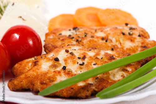 Chicken meat cutlet with vegetables